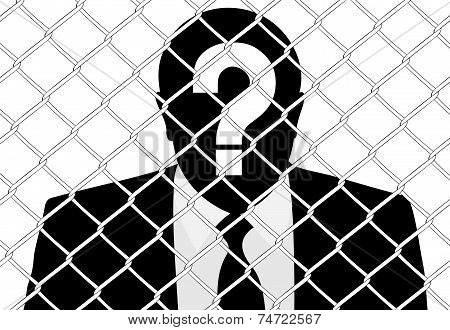 costumed man behind the wire mesh