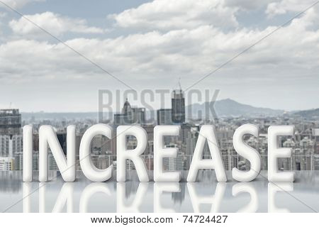 Concept of improve, increase, boost etc. Images with 3d text  and copyspace under sky.