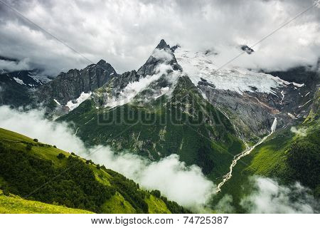 summer mountain stormy landscape