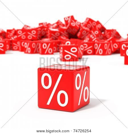 Red cubes with percent in focus isolated on white background