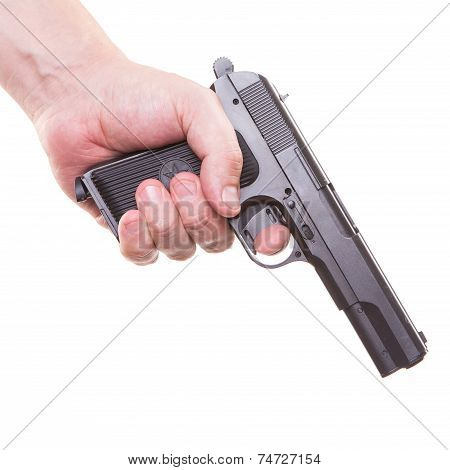Man's Hand With A Gun Isolated Killer On A White Background