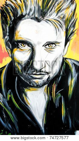 Graffiti Johnny Hallyday Portrait
