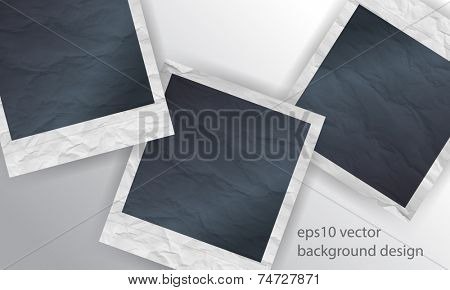 eps10 vector overlapping crumpled blank photo paper concept background