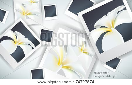 eps10 vector overlapping photo paper with flower elements background