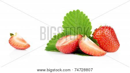 Several Sliced Strawberries With Leaf Isolated