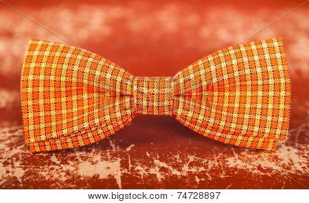 Orange Bow Tie With White Stripes
