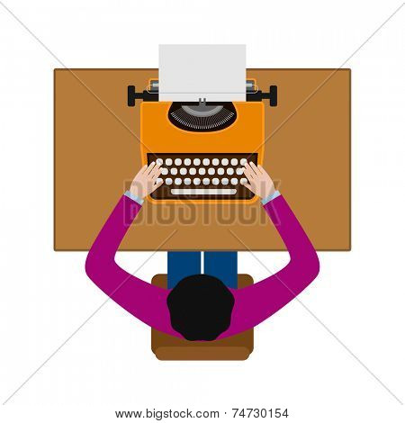 person working on typewriter concept