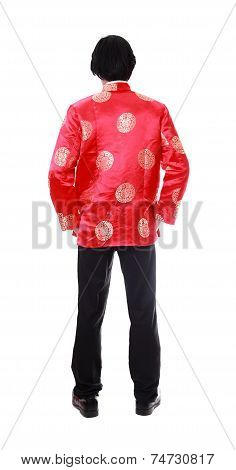 Full Body Back Portrait Asian Man With Chinese Traditional Cheongsam Or Tang Suit