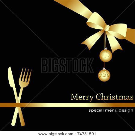 Christmas menu on a black background