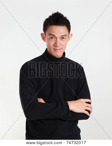 Portrait Of Determined Goodlooking Man Wearing Black Shirt,asian Young Man