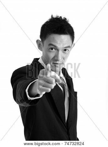 Portrait Of Man Pointing With His Finger ,black&white