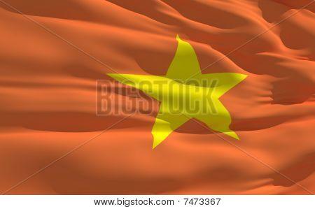 Ondeando la bandera de Vietnam