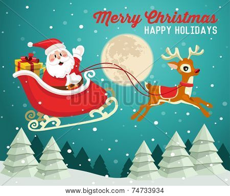 Santa Claus on sleigh with reindeer in snowy Christmas night