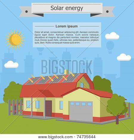 Solar energy panel house isometric ecology