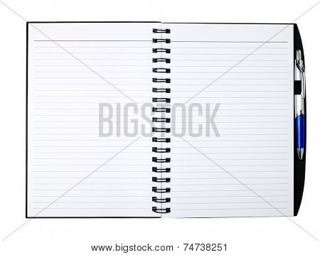 ined paper in a notepad with pen