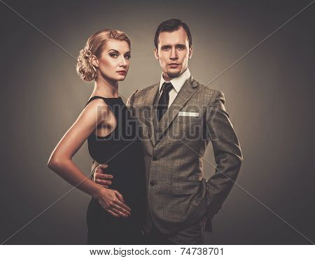 Well-dressed retro couple