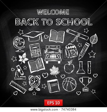 Chalk board Welcome back to school