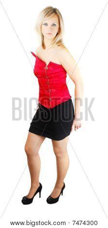 Señora en corsé rojo