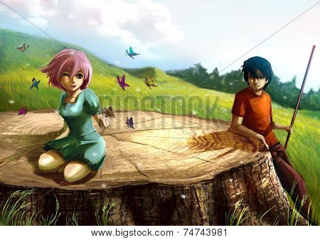 A Girl Is Playing With Butterflies On A Giant Stump With Her Boyfriend Looking.