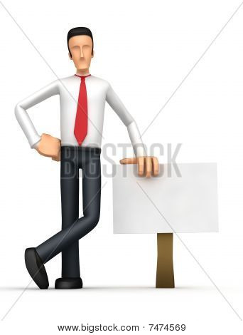 Businessman Stands Beside The Blank Board