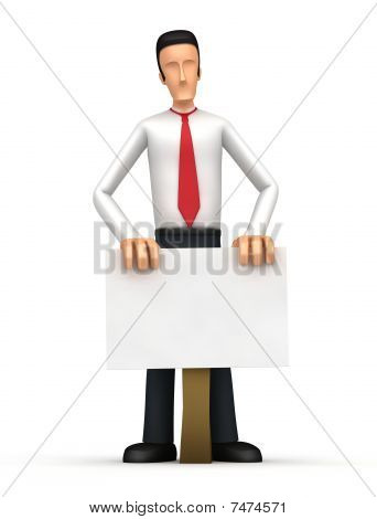 Businessman Is Behind Blank Board