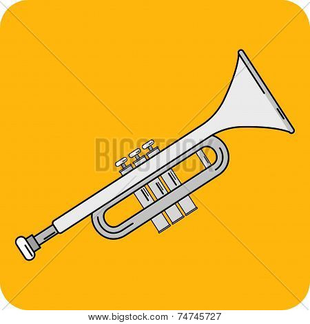 Vector Trumpet Flat Icon