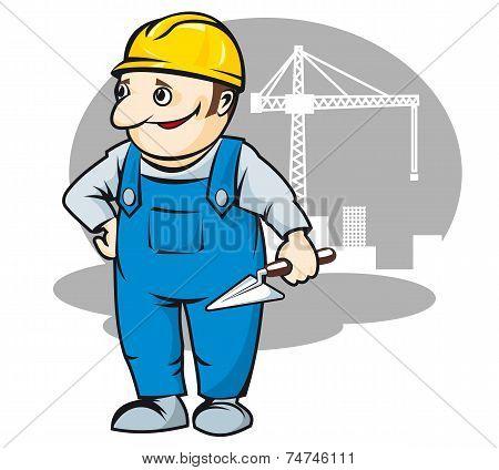 Smiling builder