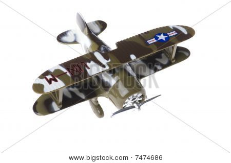 Toy Military Airplane On White