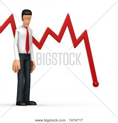 Businessman With Red Diagram