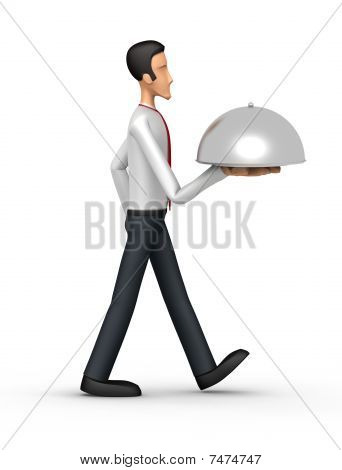 Businessman Carries A Tray