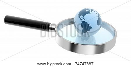 Hand Lens And Earth Sphere