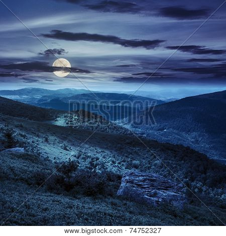 Light On Stone Mountain Slope With Forest At Night