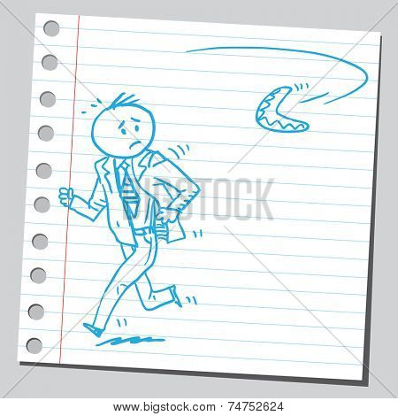 Businessman running from boomerang