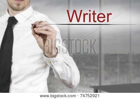 Businessman Writing Writer In The Air