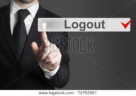 Businessman Pushing Flat Touchscreen Button Logout