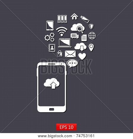 Use of cloud computing storage and applications on a mobile phone