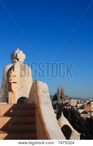 Sagrada Familia From La Pedrera. Gaudi