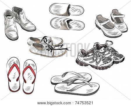 Set Of Vector Different Isolated Shoes