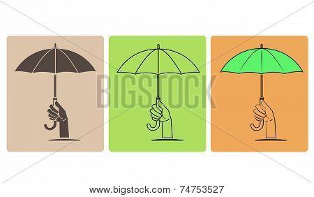 Set Of Vector Umbrella