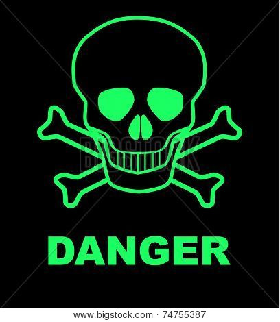 Skull and crossbones danger sign