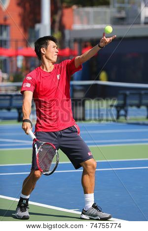 Professional tennis player Kei Nishikori practices for US Open 2014