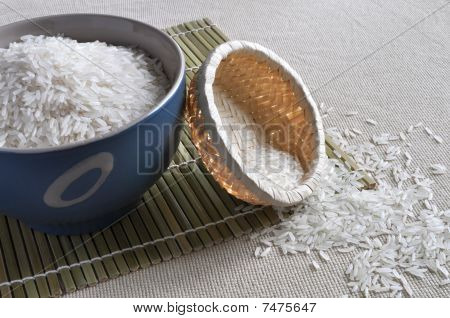 Rice in blue bowl and small basket