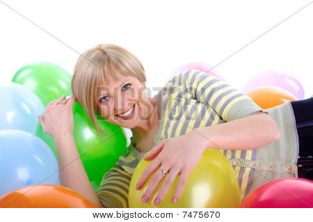 Happy Smiling Girl With Balloons