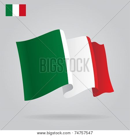 Flat and waving Italian Flag. Vector