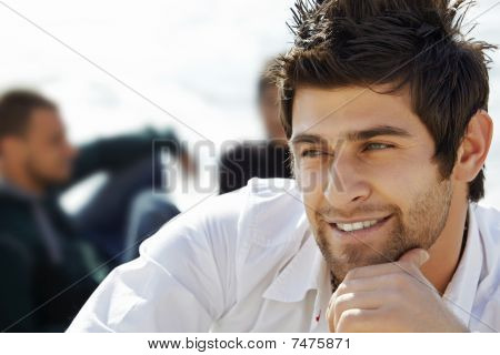 Handsome Happy Man With Mullet Haircut
