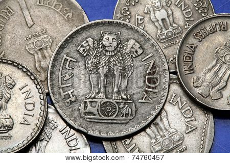 Coins of India. The Sarnath Lion Capital of Ashoka served as the state emblem of India depicted in the Indian one rupee coin.