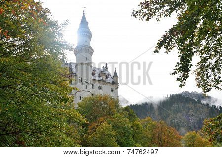 Neuschwanstein Castle in the autumn