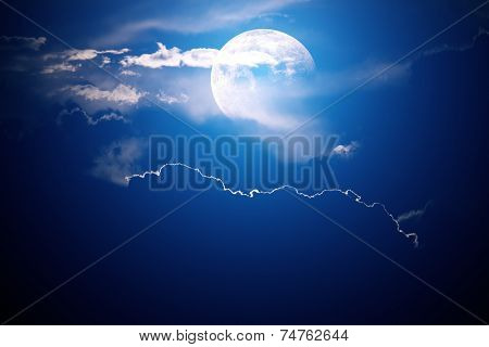 Moon behind clouds with night sky - background image - 3D artwork