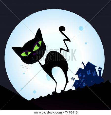 Black cat silhouette in night town