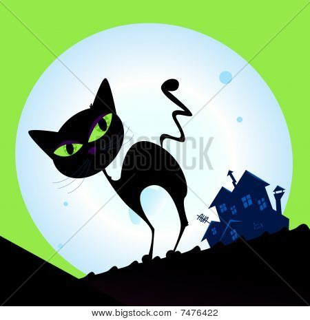 Spooky cat silhouette with full moon in background